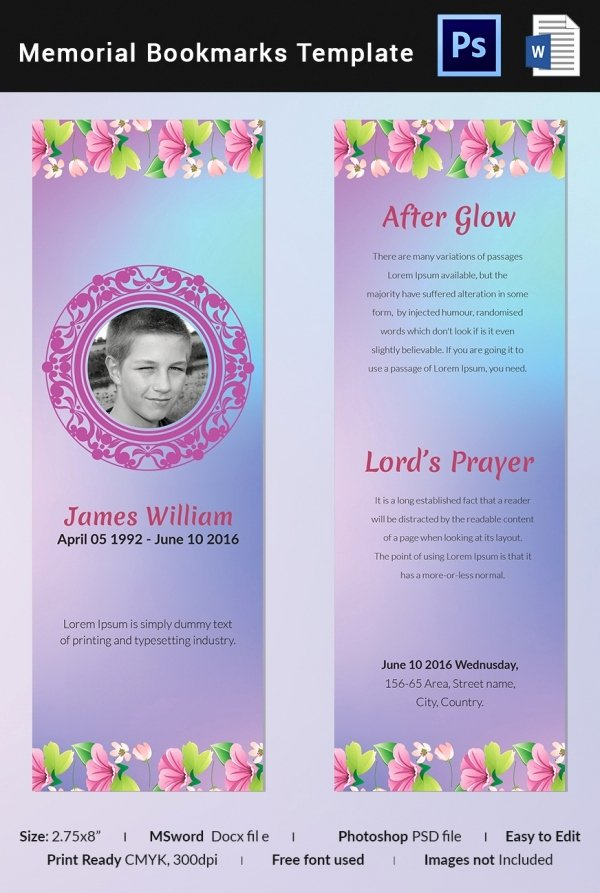 Memorial Card Template Free Download Fresh 10 Memorial Bookmarks Templates Free Psd Ai Eps