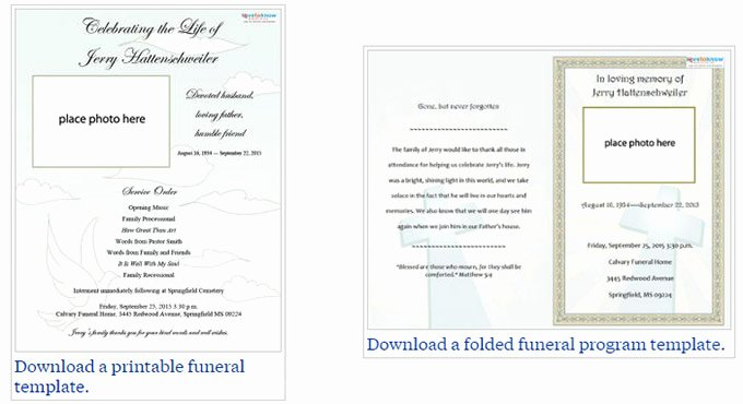Memorial Card Template Free Download Lovely Free Editable Funeral Program Template