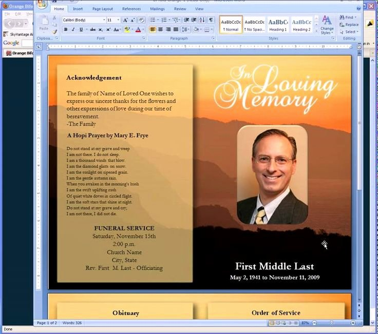 Memorial Card Template Microsoft Word Beautiful Free Funeral Program Templates