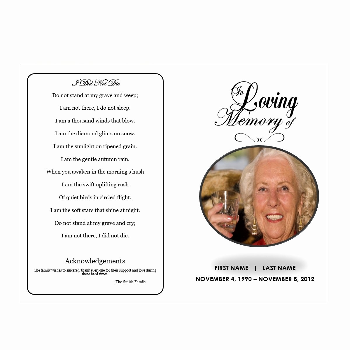 Memorial Card Template Microsoft Word Beautiful In Loving Memory Funeral Pamphlets