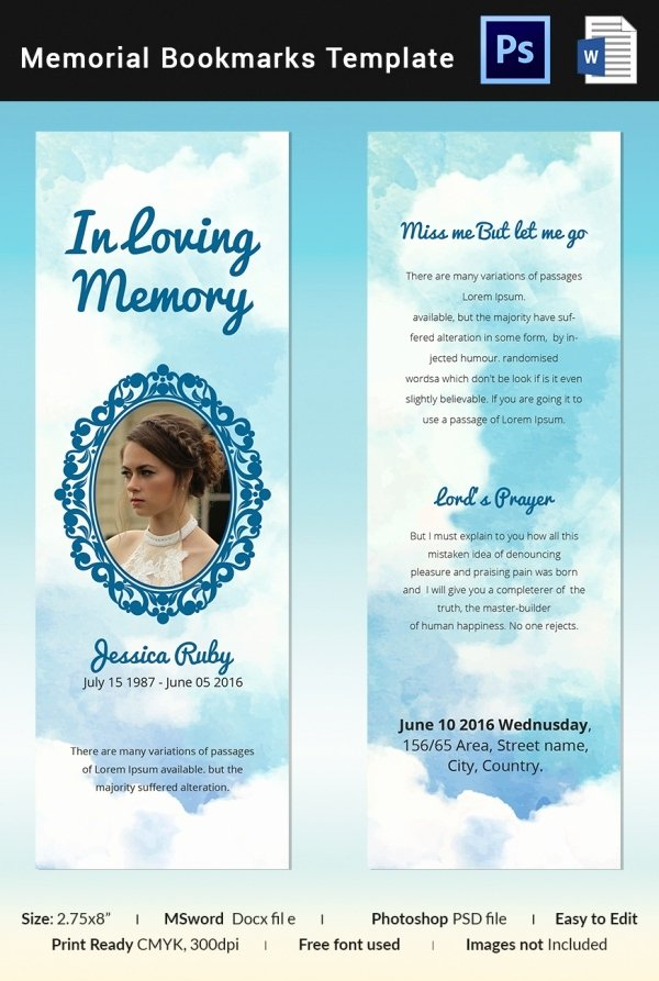 Memorial Card Template Microsoft Word Best Of 10 Memorial Bookmarks Templates Free Psd Ai Eps