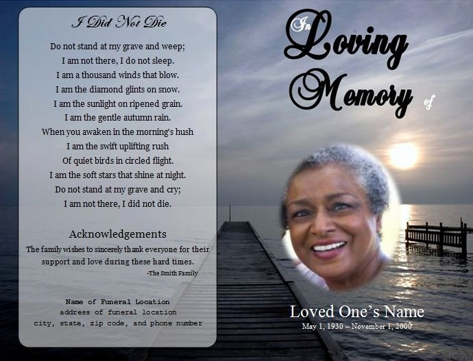 Memorial Card Template Microsoft Word Inspirational 73 Best Printable Funeral Program Templates Images On