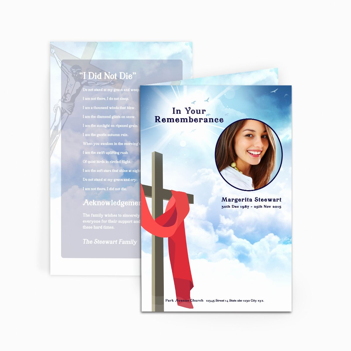 Memorial Card Template Microsoft Word Inspirational Cross In Clouds Funeral Card Funeral Pamphlets