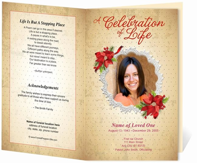 Memorial Card Template Microsoft Word Inspirational Floral theme Carol Preprinted Title Letter Single Fold
