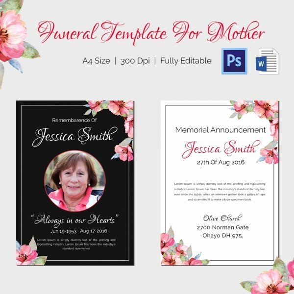Memorial Card Template Microsoft Word Inspirational Obituary Template 10 Free Word Psd format Download
