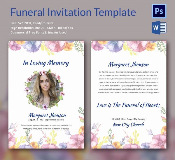 Memorial Card Template Microsoft Word Inspirational Sample Funeral Invitation Template 11 Documents In Word