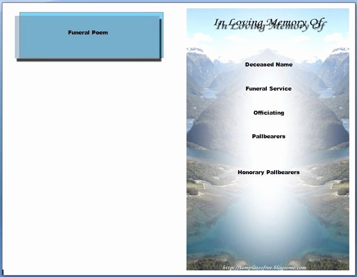 Memorial Card Template Microsoft Word Lovely Free Funeral Program Templates