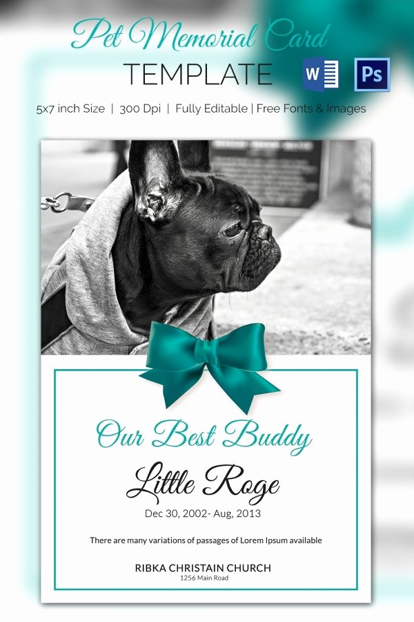 Memorial Card Template Microsoft Word Lovely Pet Memorial Card 5 Word Psd format Download