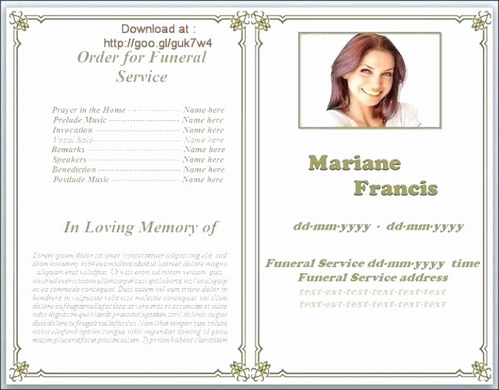 Memorial Card Template Microsoft Word New Free Templates for Funeral Programs