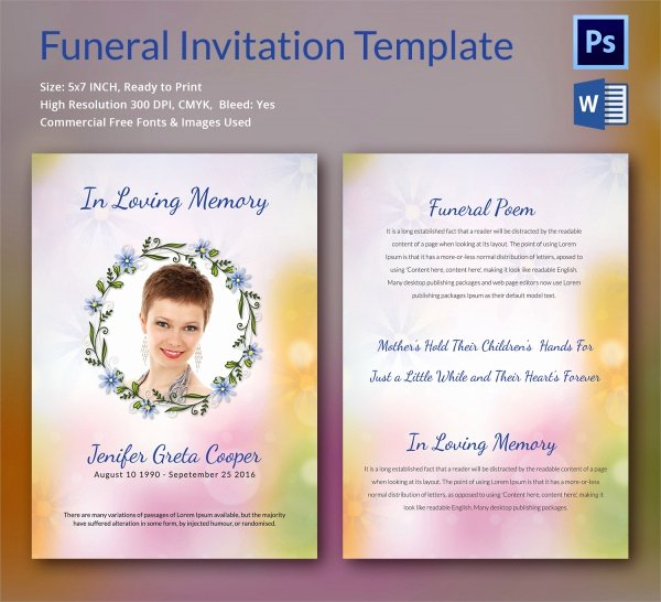 Memorial Card Template Microsoft Word New Sample Funeral Invitation Template 11 Documents In Word