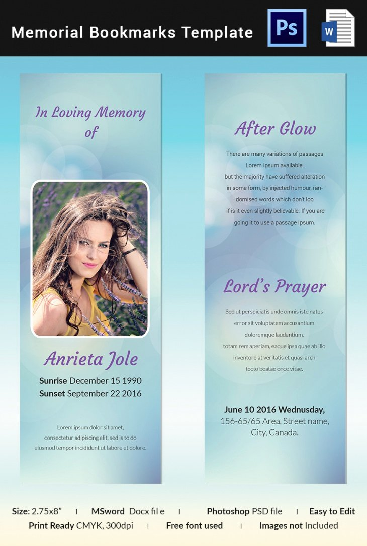 Memorial Card Template Microsoft Word Unique 5 Memorial Bookmark Templates – Free Word Pdf Psd