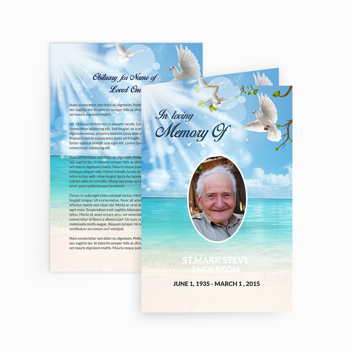 Memorial Card Template Microsoft Word Unique Dove Funeral Card Funeral Pamphlets