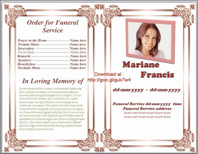Memorial Card Template Microsoft Word Unique Free Memorial Service Program Template Invitation Template