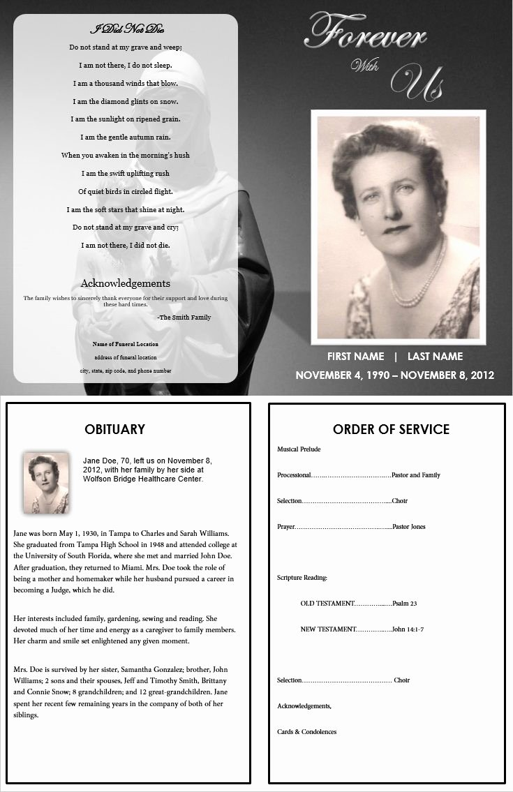 Memorial Card Template Unique 73 Best Printable Funeral Program Templates Images On