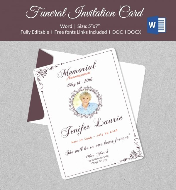 Memorial Card Templates Free Download Awesome 50 Microsoft Invitation Templates Free Samples