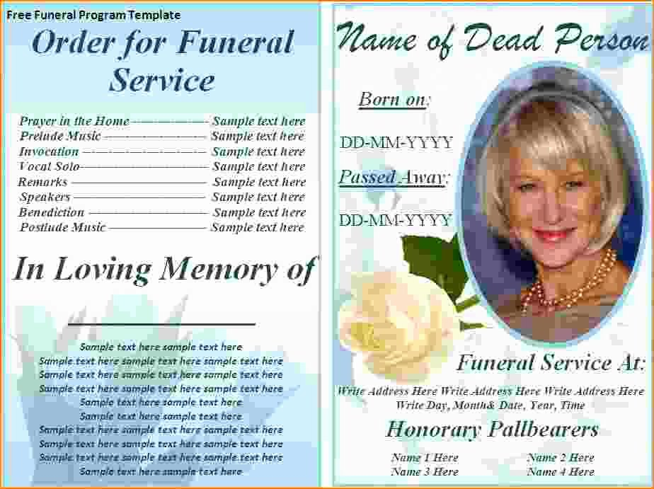 Memorial Card Templates Free Download Best Of 5 Free Funeral Program Template for Word