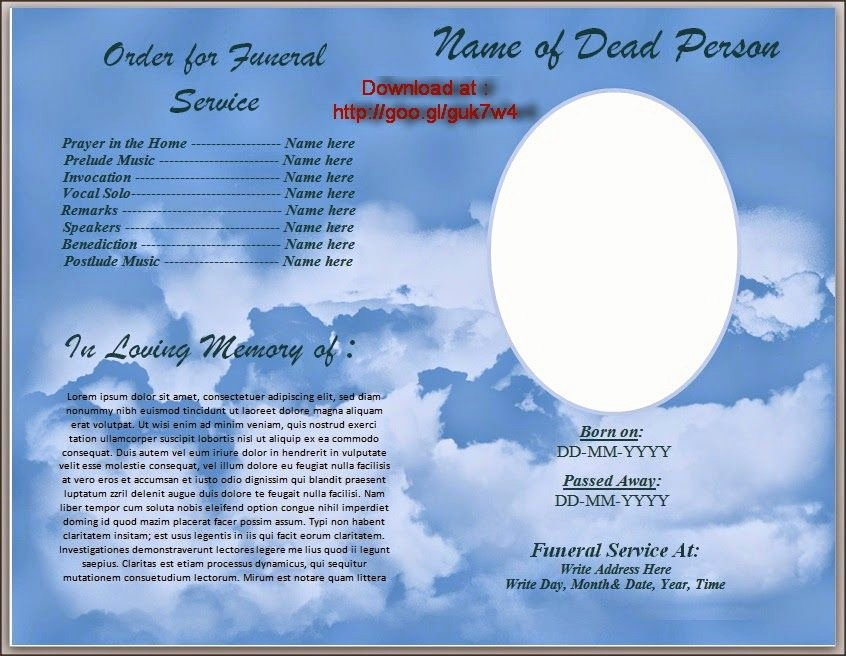 Memorial Card Templates Free Download Unique Download Free Funeral Program Template for Australia In