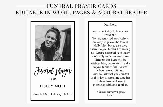 Memorial Cards for Funeral Template Free Awesome Funeral Prayer Cards Printable Funeral Cards Memorial