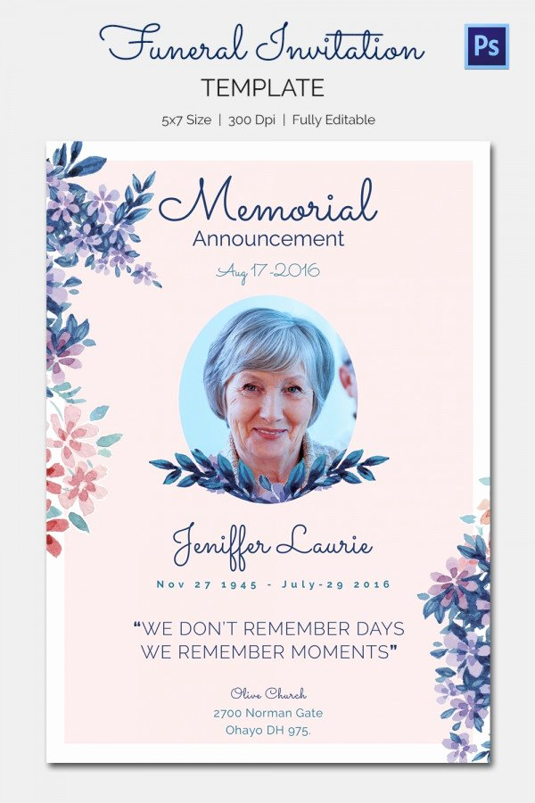 Memorial Cards for Funeral Template Free Beautiful 15 Funeral Invitation Templates – Free Sample Example