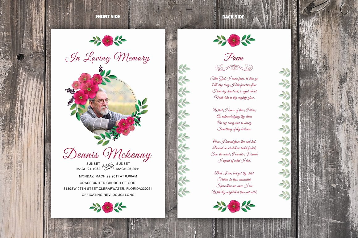 Memorial Cards for Funeral Template Free Elegant Funeral Prayer Card Template Card Templates Creative
