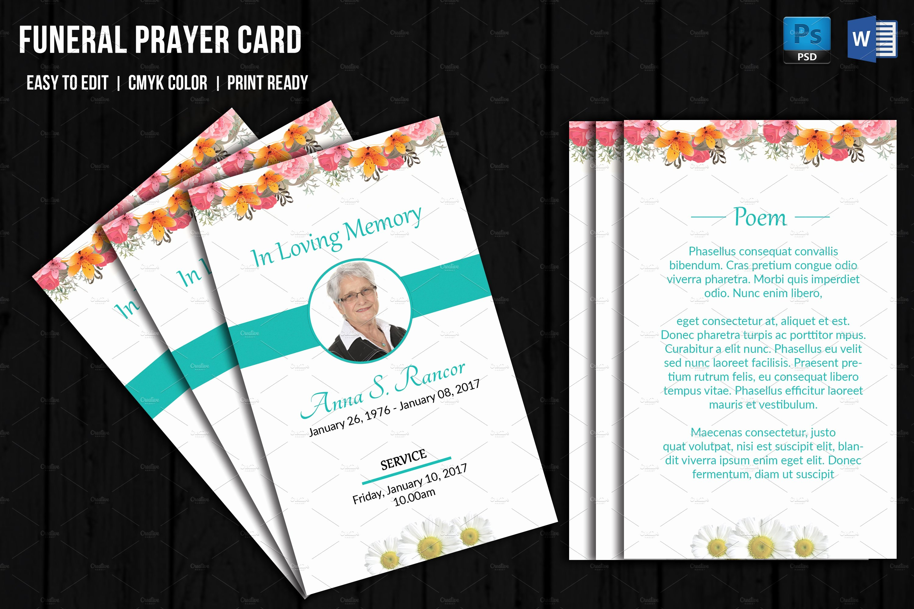 Memorial Cards for Funeral Template Free Lovely Funeral Prayer Card Template V656 Card Templates