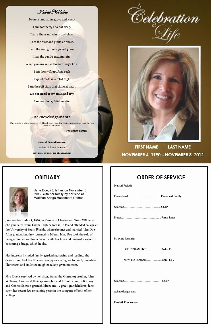 Memorial Cards for Funeral Template Free Luxury 73 Best Printable Funeral Program Templates Images On
