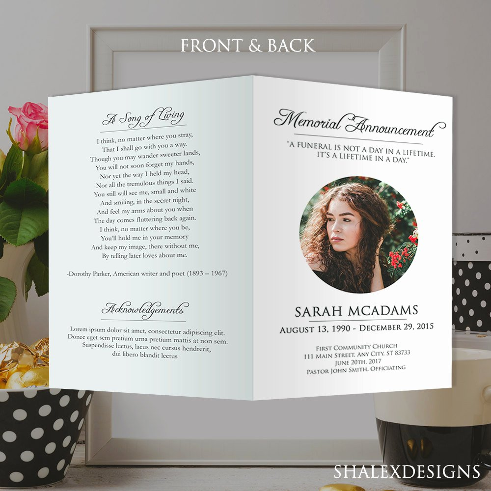 Memorial Cards for Funeral Template Free New White Funeral Program Template Shop Psd Instant