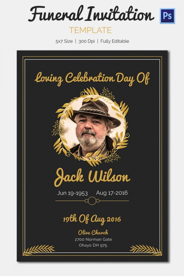Memorial Cards for Funeral Template Free Unique 15 Funeral Invitation Templates – Free Sample Example
