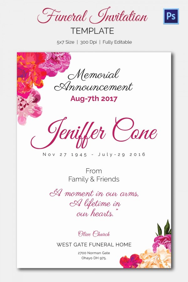 Memorial Cards Template Awesome 15 Funeral Invitation Templates – Free Sample Example