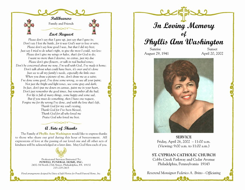 Memorial Cards Template Beautiful Borders for Funeral Programs Clipart Collection