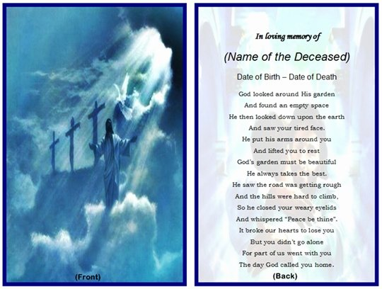 Memorial Cards Template Beautiful Example Of Christian Memorial Card Jesus
