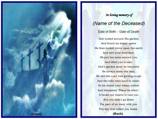 Memorial Cards Template Free Beautiful Example Of Christian Memorial Card Jesus