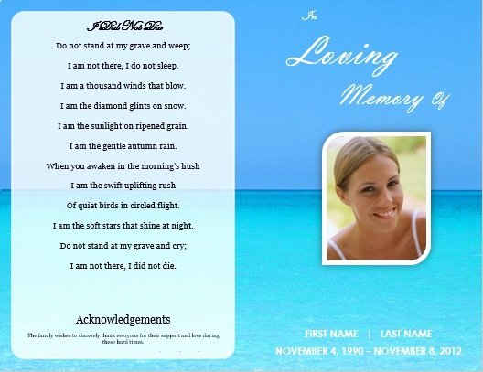 Memorial Cards Template Free Beautiful Single Fold Beach Funeral Program Template for