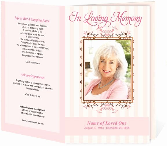 Memorial Cards Template Free Fresh Seraphina Preprinted Title Letter Single Funeral Programs