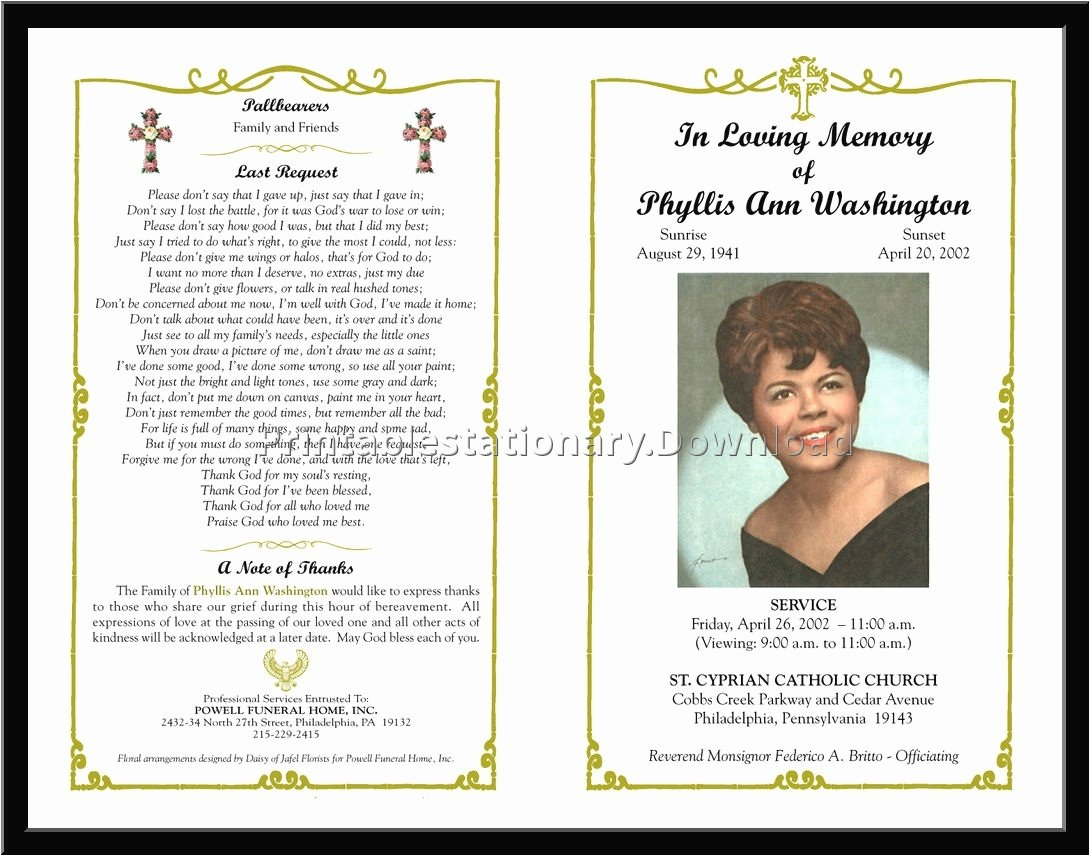 Memorial Cards Template Free Lovely Download Free Funeral Program Template