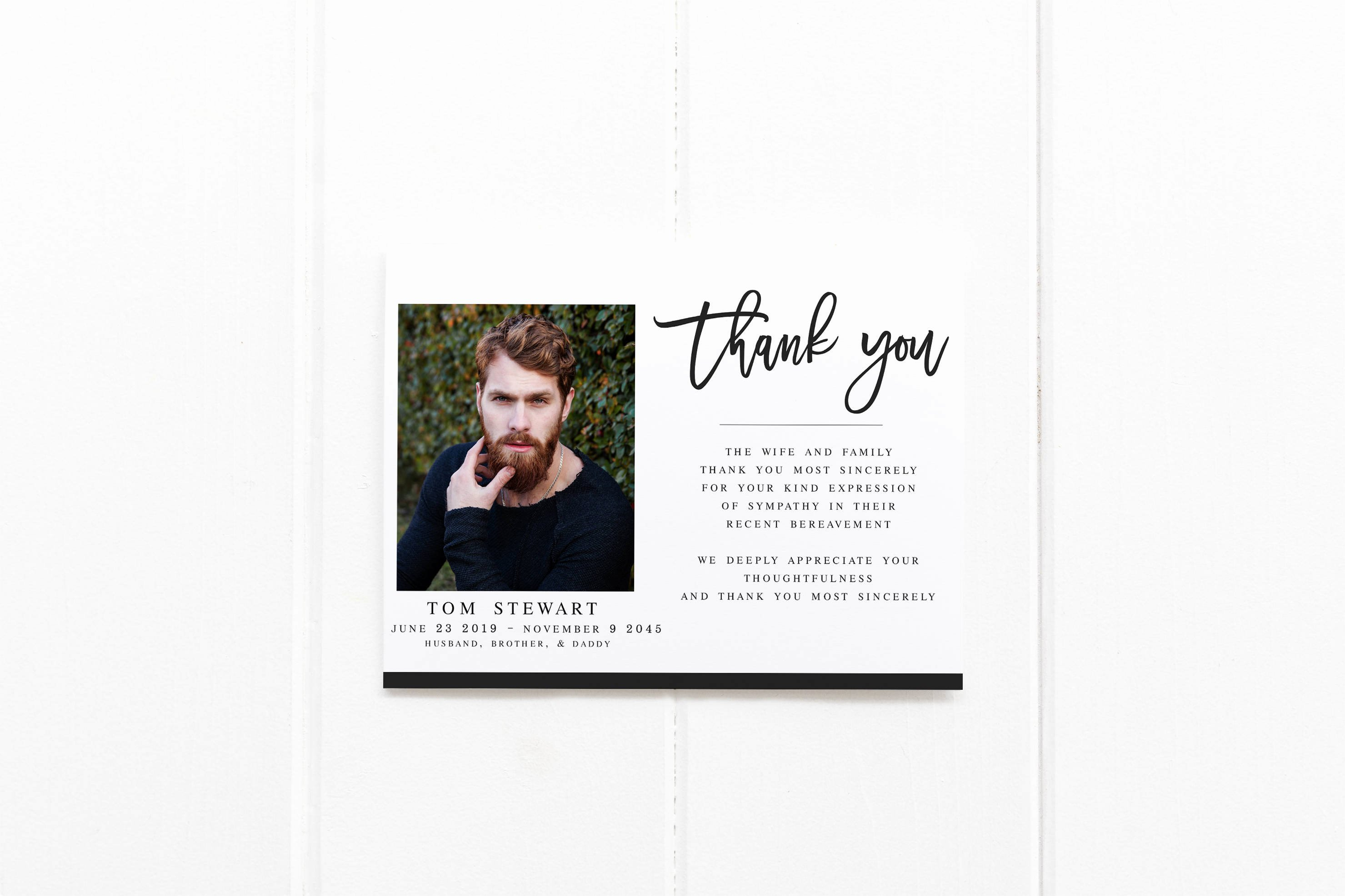 Memorial Cards Template New Modern Funeral Acknowledgement Card Template Sympathy