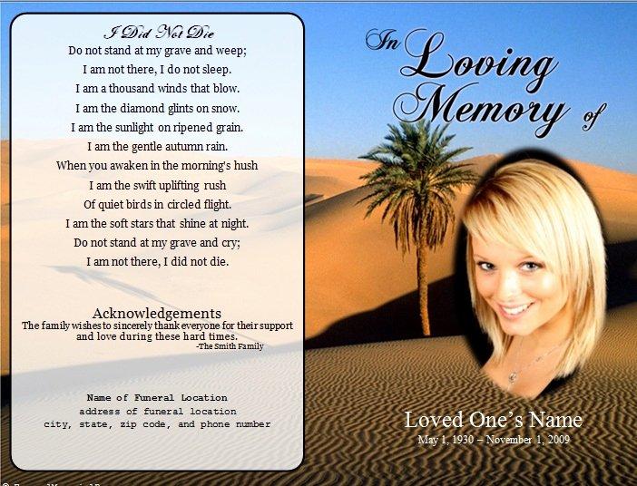 Memorial Cards Template Unique Desert Single Fold Memorial Program Funeral Pamphlets