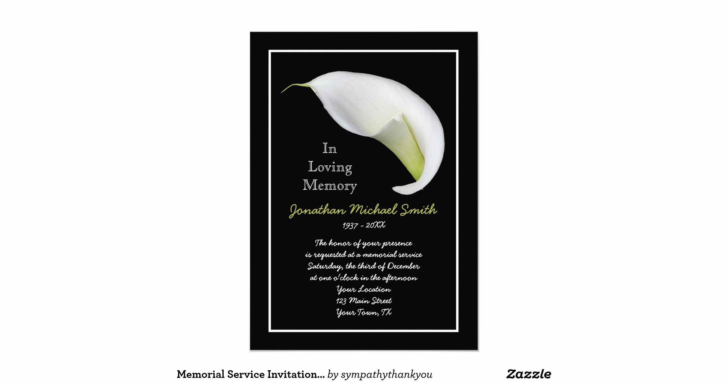 Memorial Service Announcement Template Awesome Memorial Service Invitation Announcement Template