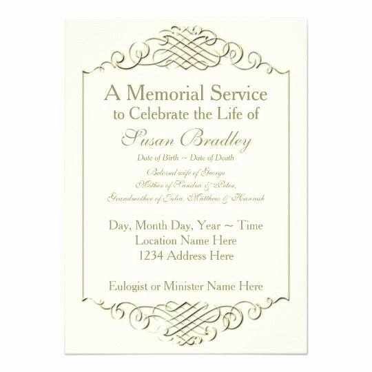 Memorial Service Announcement Template Elegant Elegant Golden Vintage Frame W 2 Memorial Service