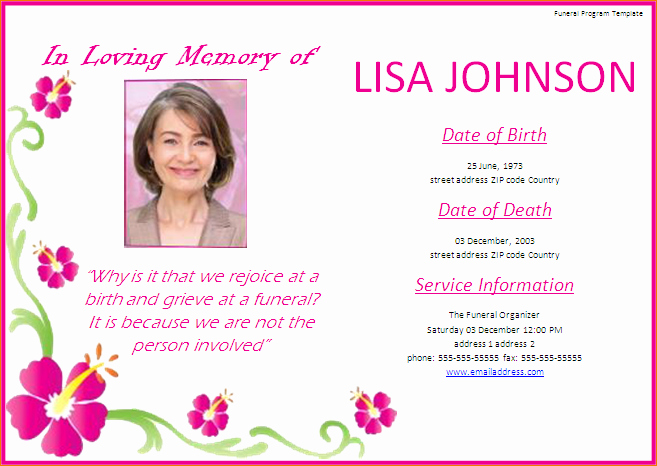 Memorial Service Announcement Template Elegant Free Memorial Service Program Template