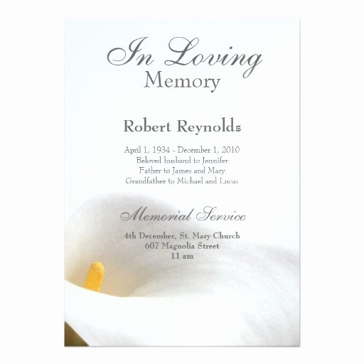 "Memorial Service Announcement Template Elegant Memorial Announcement 5"" X 7"" Invitation Card"