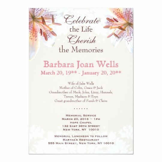 Memorial Service Announcement Template Elegant Tiger Lily Memorial Service Funeral Announcement