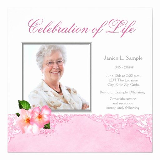 "Memorial Service Announcement Template Elegant Womans Memorial Service Announcement 5 25"" Square"