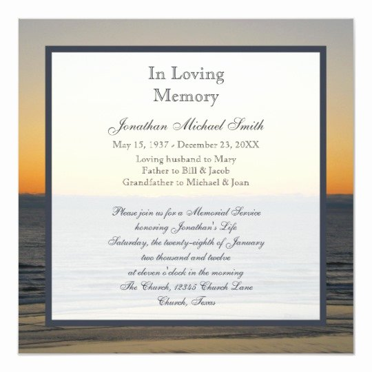 Memorial Service Announcement Template Inspirational Memorial Service Announcement Invitation