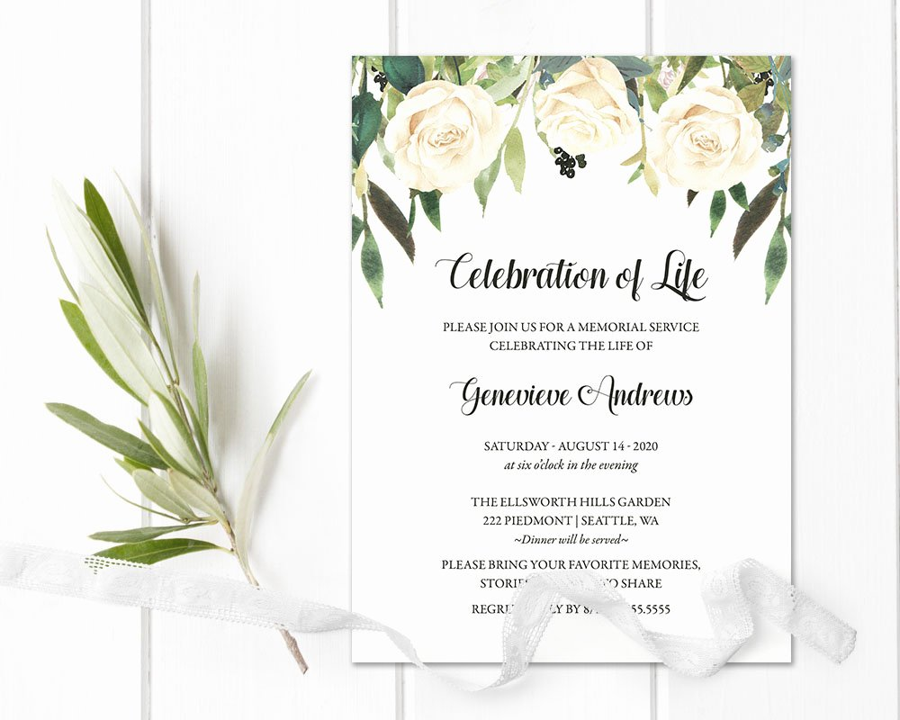 Memorial Service Announcement Template Lovely Celebration Of Life Invitation Template Funeral