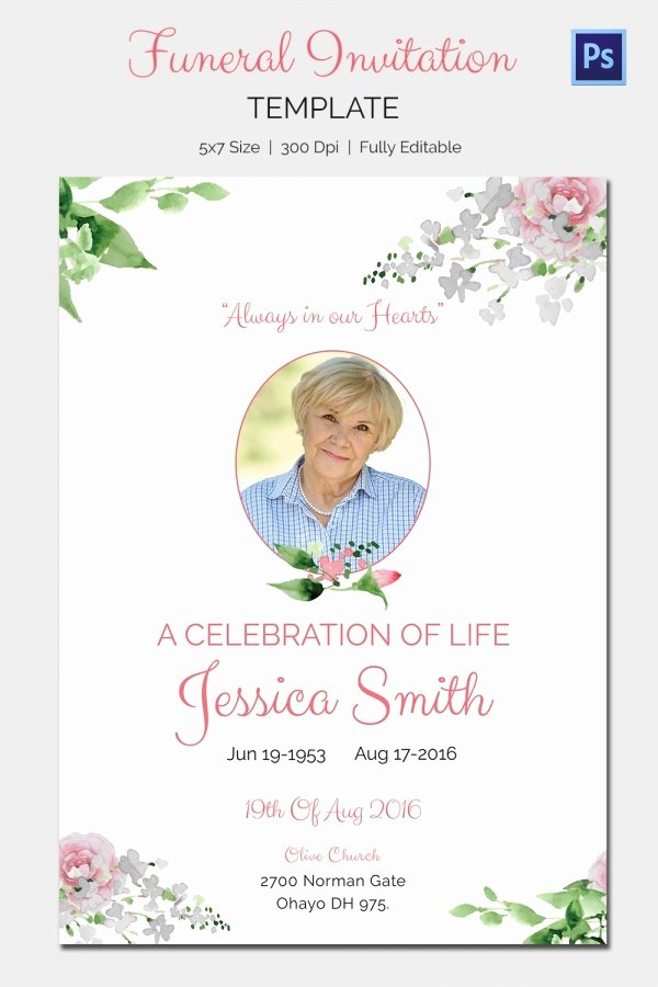 Memorial Service Announcement Template Lovely Funeral Invitation Template – 12 Free Psd Vector Eps Ai