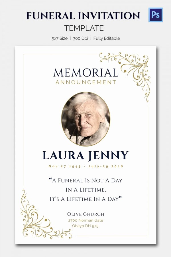 Memorial Service Announcement Template Luxury 15 Funeral Invitation Templates – Free Sample Example
