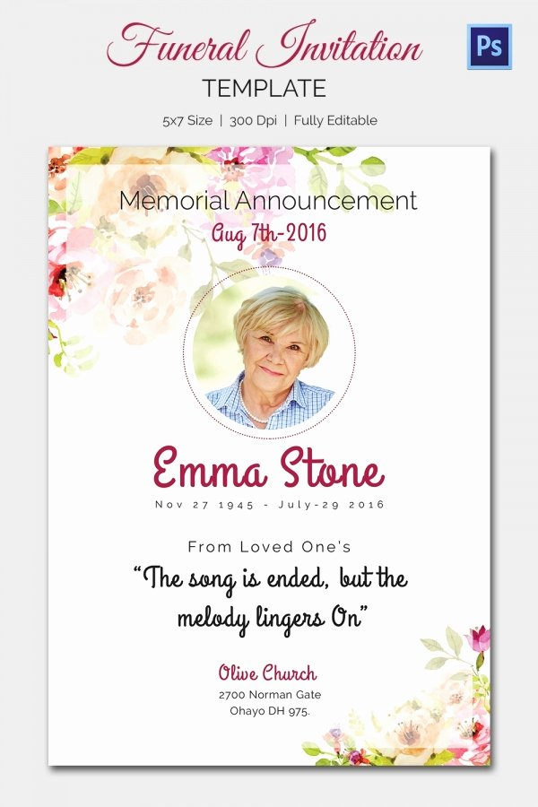 Memorial Service Announcement Template New 15 Funeral Invitation Templates – Free Sample Example