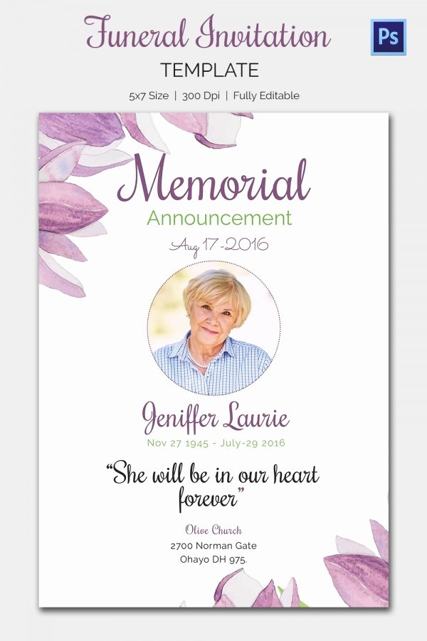Memorial Service Announcement Template Unique Funeral Invitation Template – 12 Free Psd Vector Eps Ai