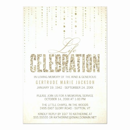 Memorial Service Invitations Templates Awesome Gold Glitter Look Memorial Service Invitation
